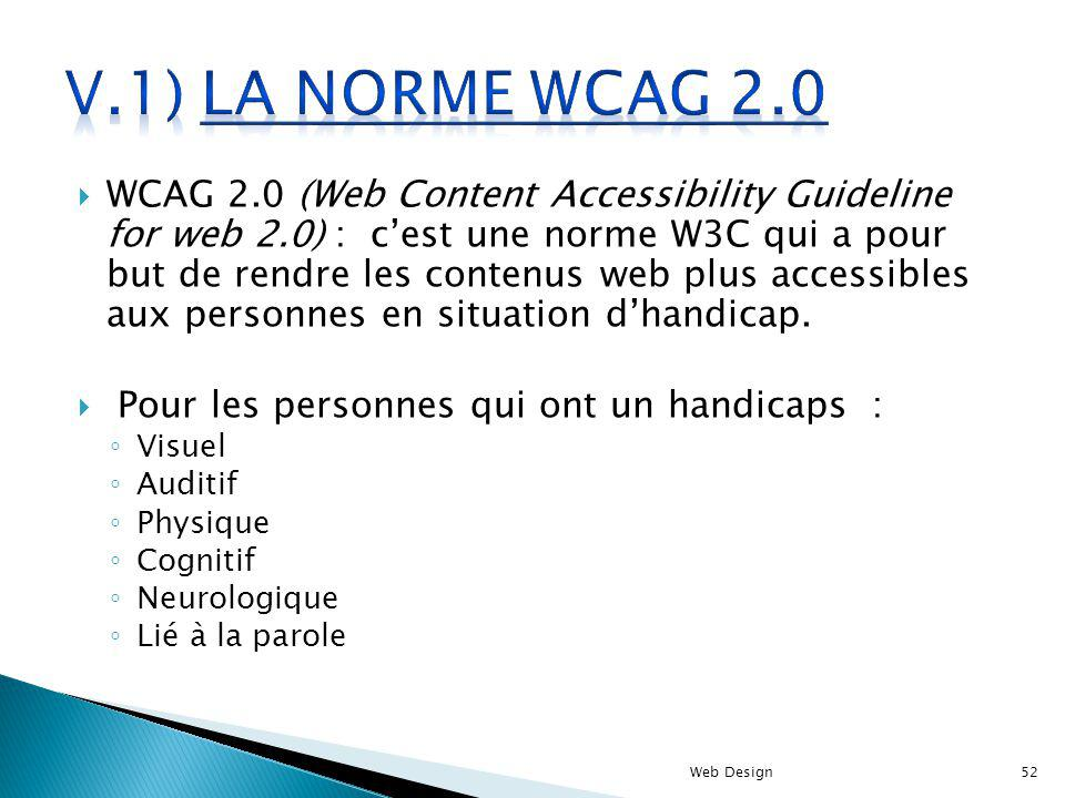 WCAG 2.0 (Web Content Accessibility Guideline for web 2.0) : cest une norme W3C qui a pour but de rendre les contenus web plus accessibles aux personnes en situation dhandicap.