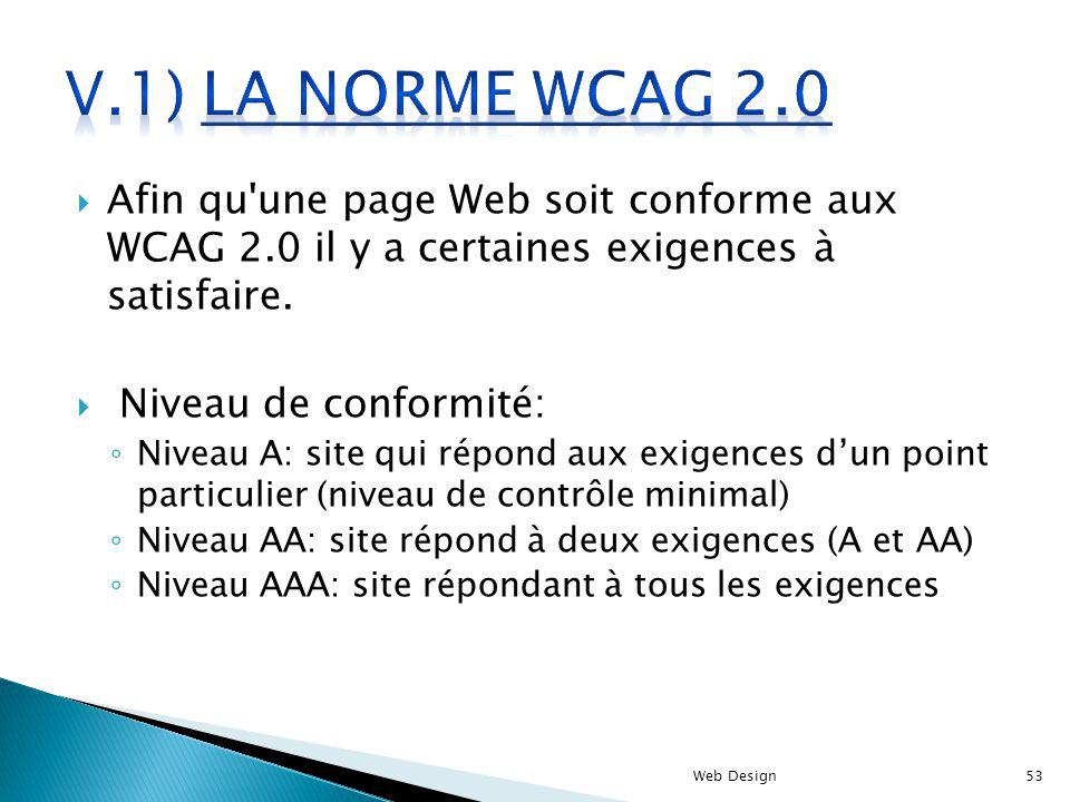 Afin qu'une page Web soit conforme aux WCAG 2.0 il y a certaines exigences à satisfaire. Niveau de conformité: Niveau A: site qui répond aux exigences