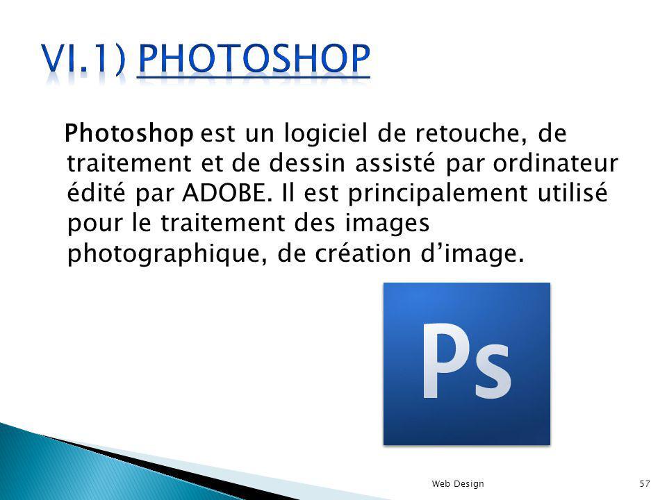 Photoshop est un logiciel de retouche, de traitement et de dessin assisté par ordinateur édité par ADOBE. Il est principalement utilisé pour le traite