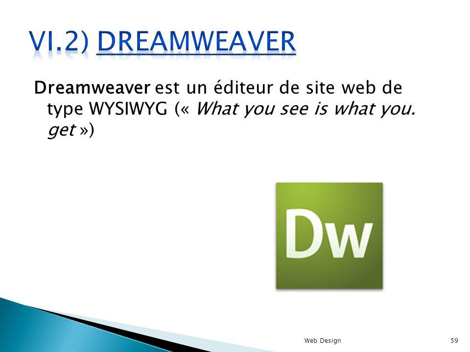 Dreamweaver est un éditeur de site web de type WYSIWYG (« What you see is what you.