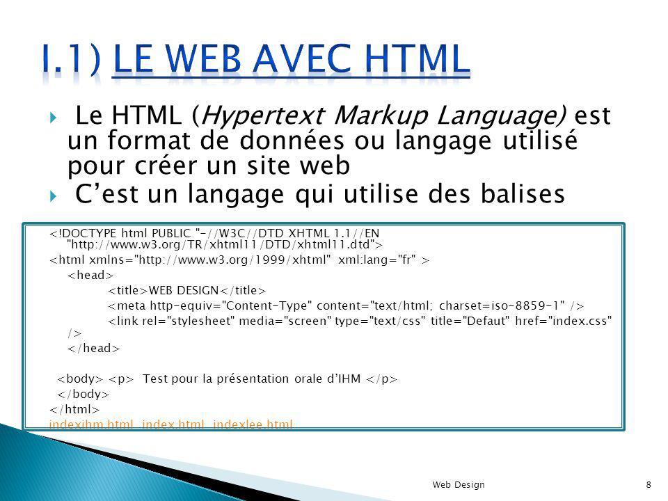 Le HTML (Hypertext Markup Language) est un format de données ou langage utilisé pour créer un site web Cest un langage qui utilise des balises WEB DES