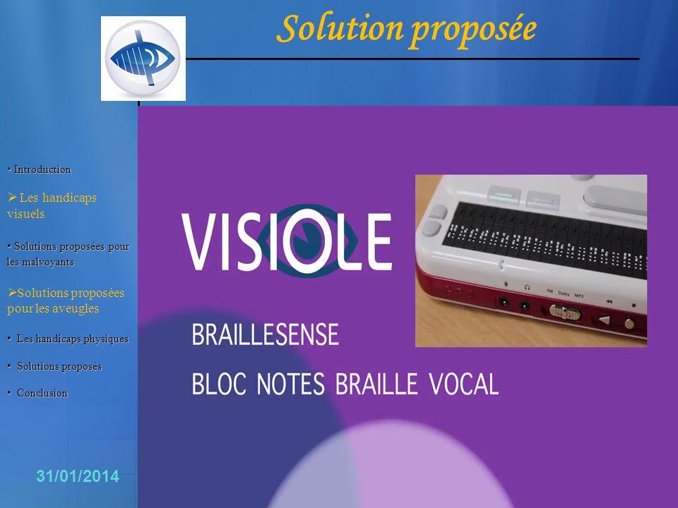 11 31/01/2014 Introduction Introduction Les handicaps visuels Solutionsproposéespour lesmalvoyants Solutions proposées pour les malvoyants Solutions p