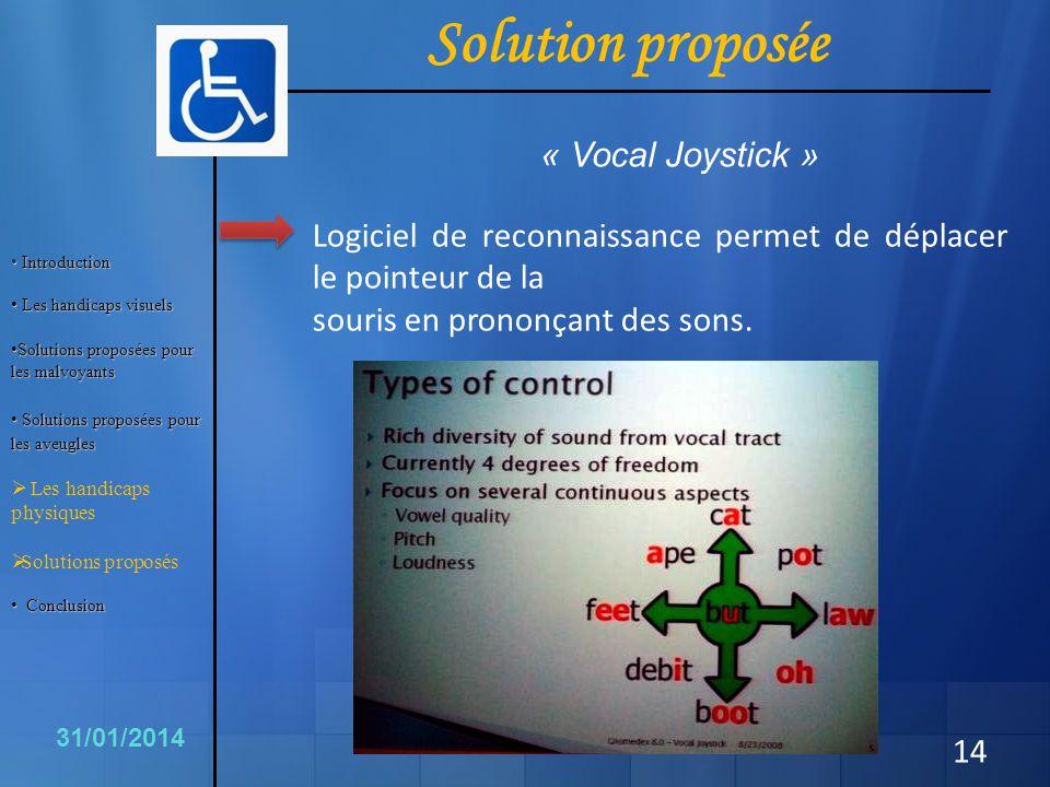 14 Logiciel de reconnaissance permet de déplacer le pointeur de la souris en prononçant des sons. 31/01/2014 Solution proposée « Vocal Joystick » Intr