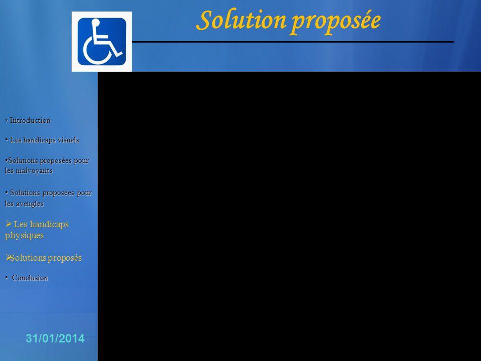 16 31/01/2014 Solution proposée Introduction Introduction Les handicaps visuels Les handicaps visuels Solutions proposées pour les malvoyants Solution