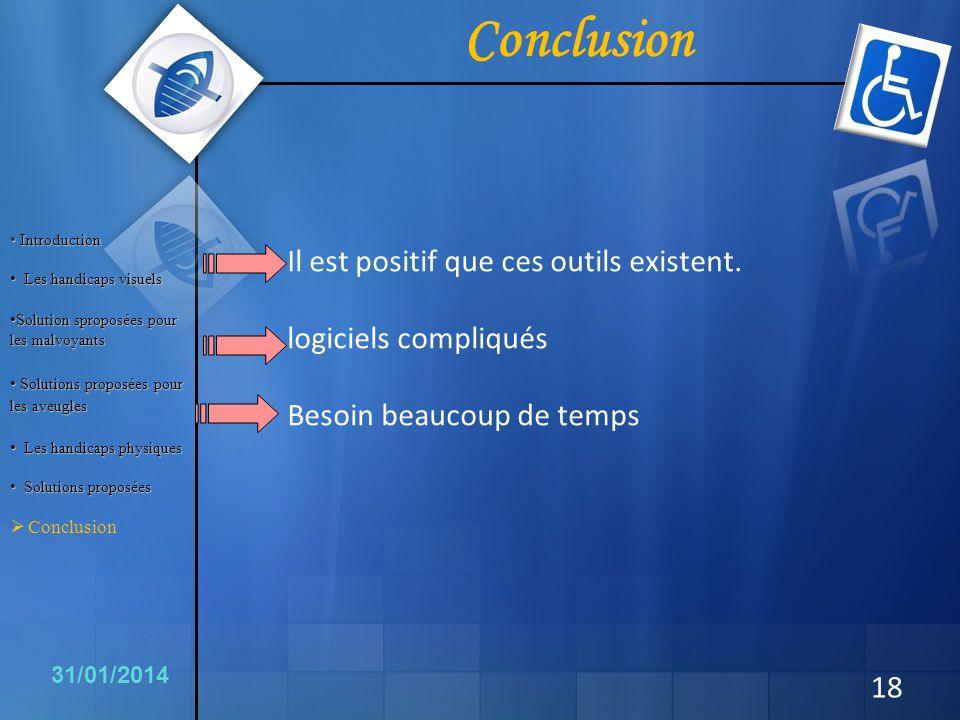 Conclusion 18 31/01/2014 Il est positif que ces outils existent. logiciels compliqués Besoin beaucoup de temps Introduction Introduction Les handicaps