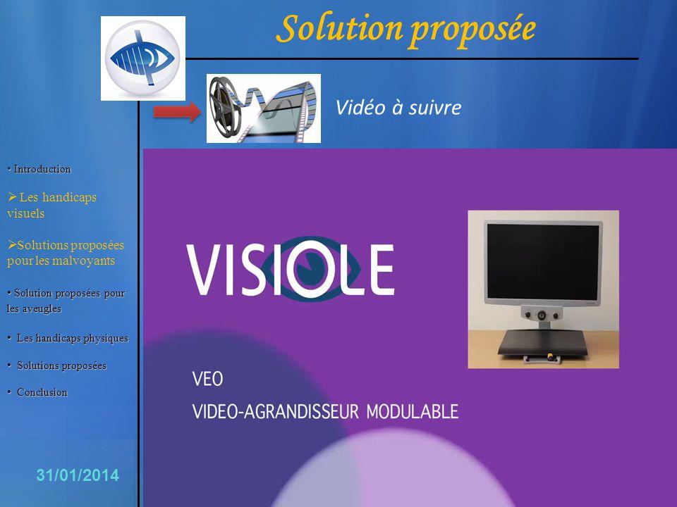6 31/01/2014 Solution proposée Vidéo à suivre Introduction Introduction Les handicaps visuels Solutions proposées pour les malvoyants Solutionproposée