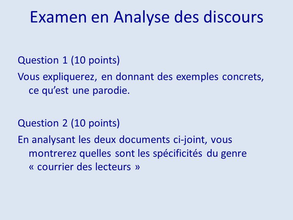 Examen en Analyse des discours Question 1 (10 points) Vous expliquerez, en donnant des exemples concrets, ce quest une parodie. Question 2 (10 points)