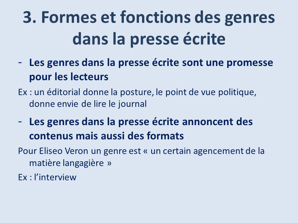 3. Formes et fonctions des genres dans la presse écrite - Les genres dans la presse écrite sont une promesse pour les lecteurs Ex : un éditorial donne