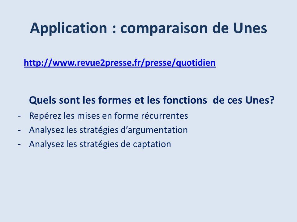 http://www.revue2presse.fr/presse/quotidien Quels sont les formes et les fonctions de ces Unes? -Repérez les mises en forme récurrentes -Analysez les