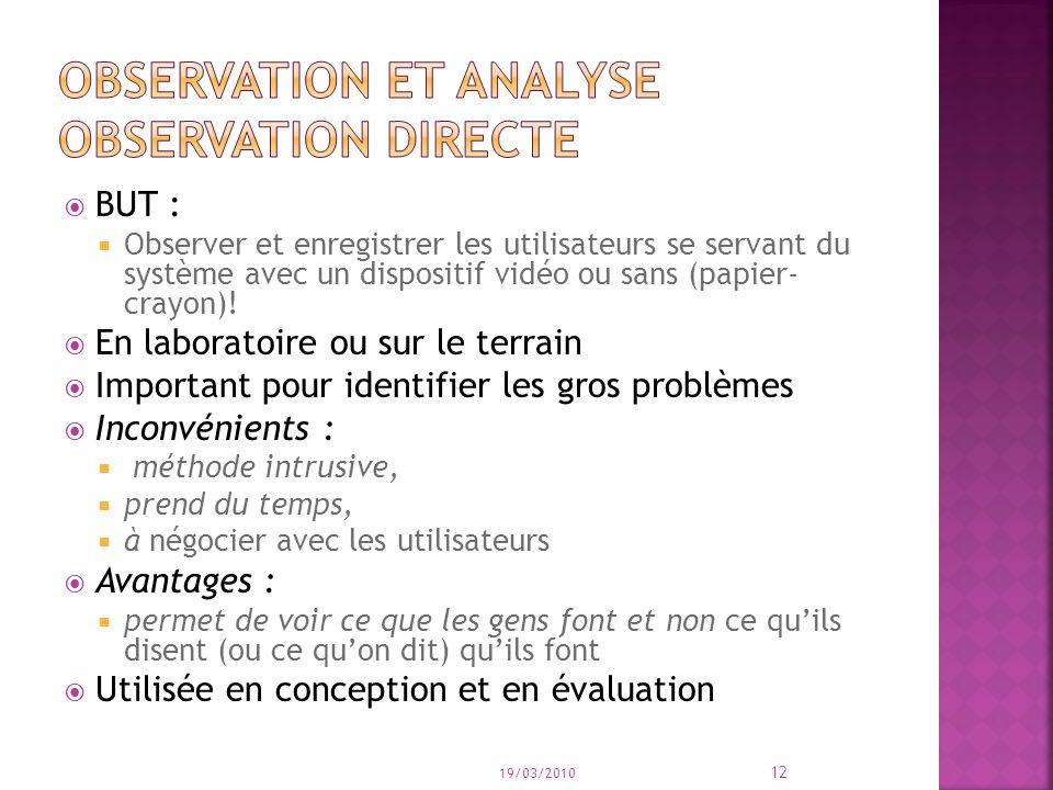 BUT : Observer et enregistrer les utilisateurs se servant du système avec un dispositif vidéo ou sans (papier- crayon)! En laboratoire ou sur le terra
