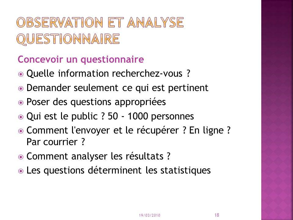 Concevoir un questionnaire Quelle information recherchez-vous ? Demander seulement ce qui est pertinent Poser des questions appropriées Qui est le pub