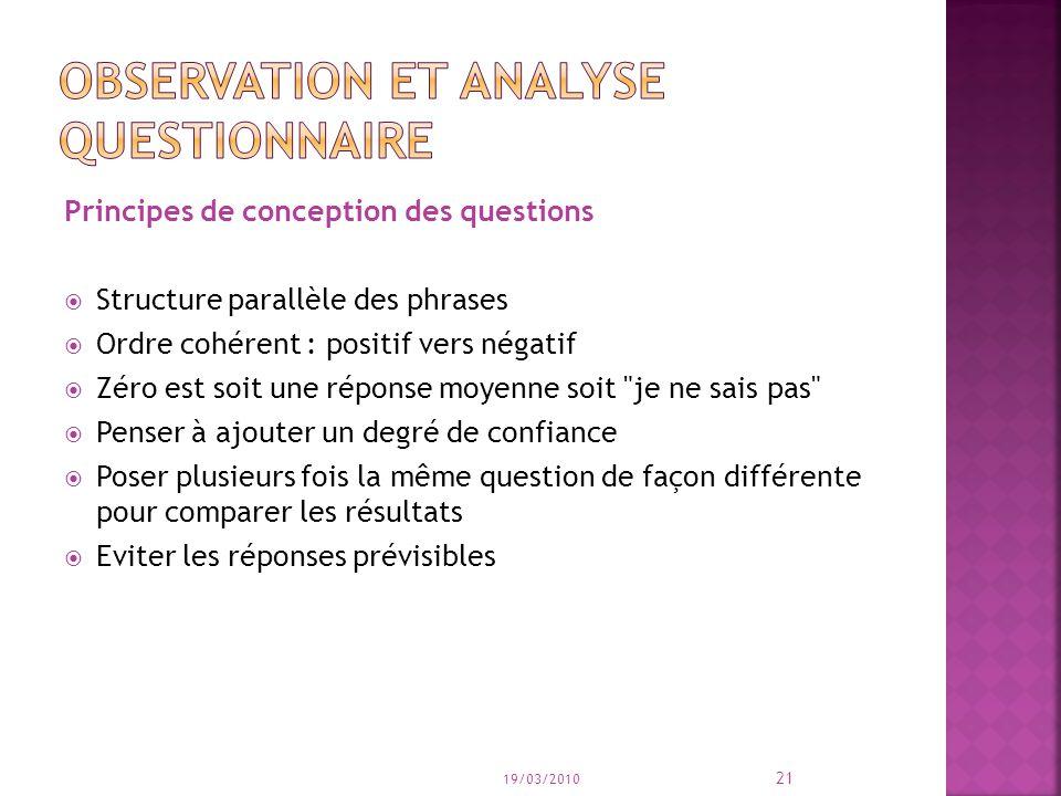 Principes de conception des questions Structure parallèle des phrases Ordre cohérent : positif vers négatif Zéro est soit une réponse moyenne soit