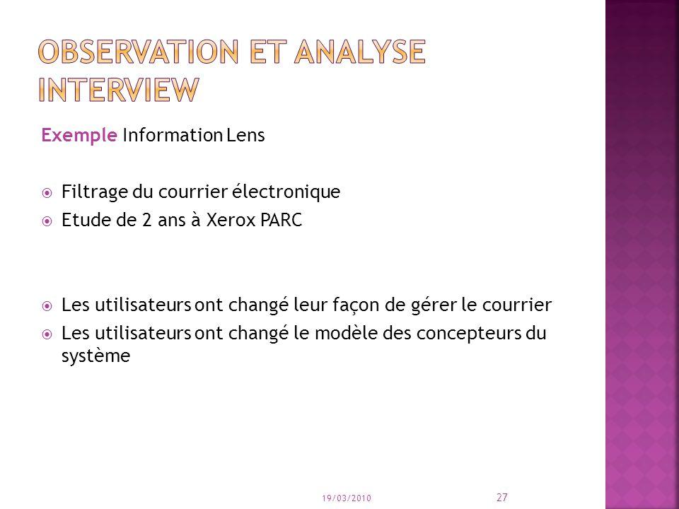 Exemple Information Lens Filtrage du courrier électronique Etude de 2 ans à Xerox PARC Les utilisateurs ont changé leur façon de gérer le courrier Les utilisateurs ont changé le modèle des concepteurs du système 19/03/2010 27