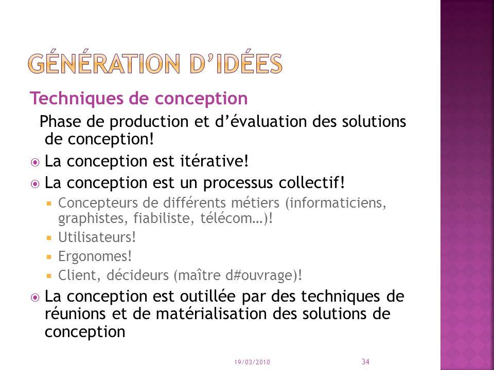 Techniques de conception Phase de production et dévaluation des solutions de conception.