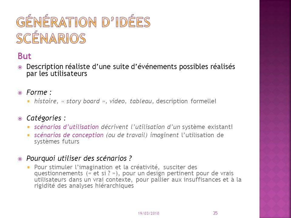 But Description réaliste dune suite dévénements possibles réalisés par les utilisateurs Forme : histoire, « story board », video, tableau, description