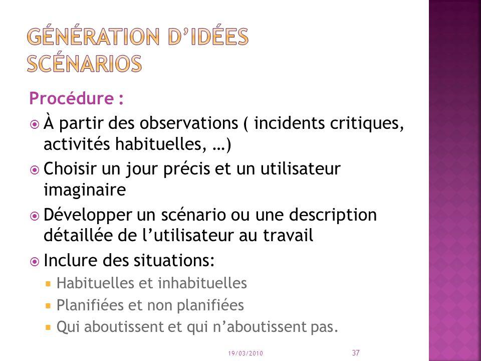 Procédure : À partir des observations ( incidents critiques, activités habituelles, …) Choisir un jour précis et un utilisateur imaginaire Développer