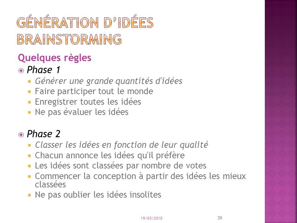 Quelques règles Phase 1 Générer une grande quantités d'idées Faire participer tout le monde Enregistrer toutes les idées Ne pas évaluer les idées Phas