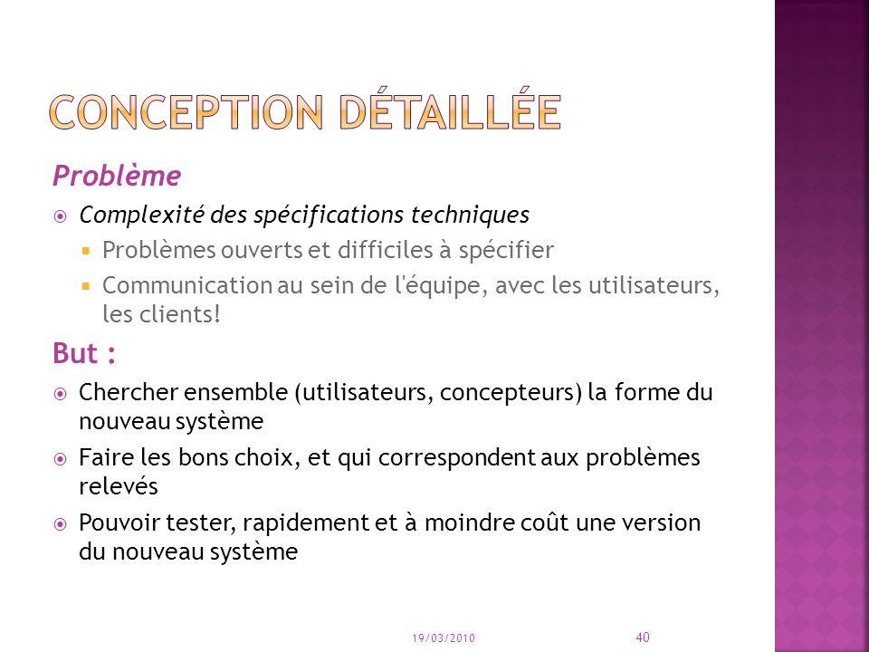 Problème Complexité des spécifications techniques Problèmes ouverts et difficiles à spécifier Communication au sein de l'équipe, avec les utilisateurs