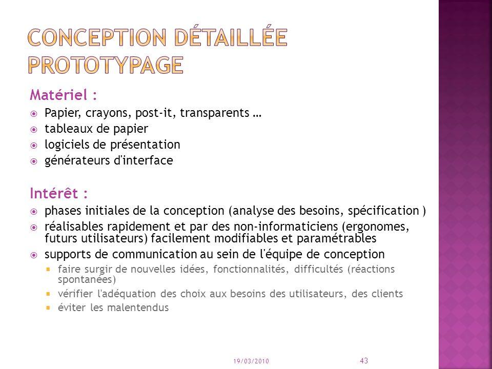 Matériel : Papier, crayons, post-it, transparents … tableaux de papier logiciels de présentation générateurs d'interface Intérêt : phases initiales de