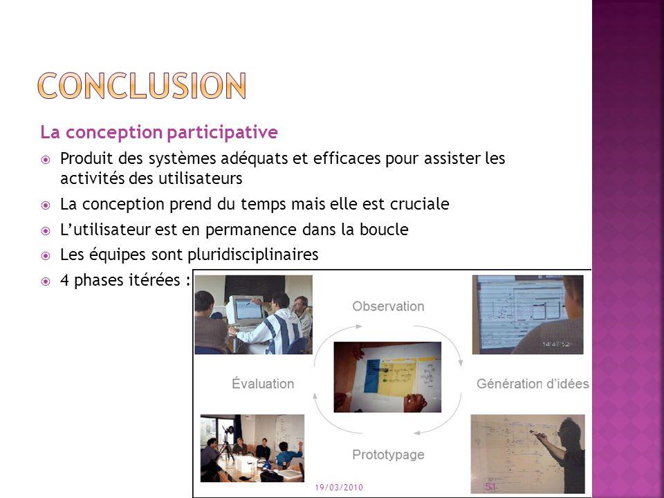 La conception participative Produit des systèmes adéquats et efficaces pour assister les activités des utilisateurs La conception prend du temps mais