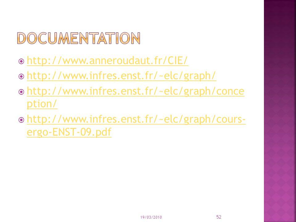 http://www.anneroudaut.fr/CIE/ http://www.infres.enst.fr/~elc/graph/ http://www.infres.enst.fr/~elc/graph/conce ption/ http://www.infres.enst.fr/~elc/graph/conce ption/ http://www.infres.enst.fr/~elc/graph/cours- ergo-ENST-09.pdf http://www.infres.enst.fr/~elc/graph/cours- ergo-ENST-09.pdf 19/03/2010 52
