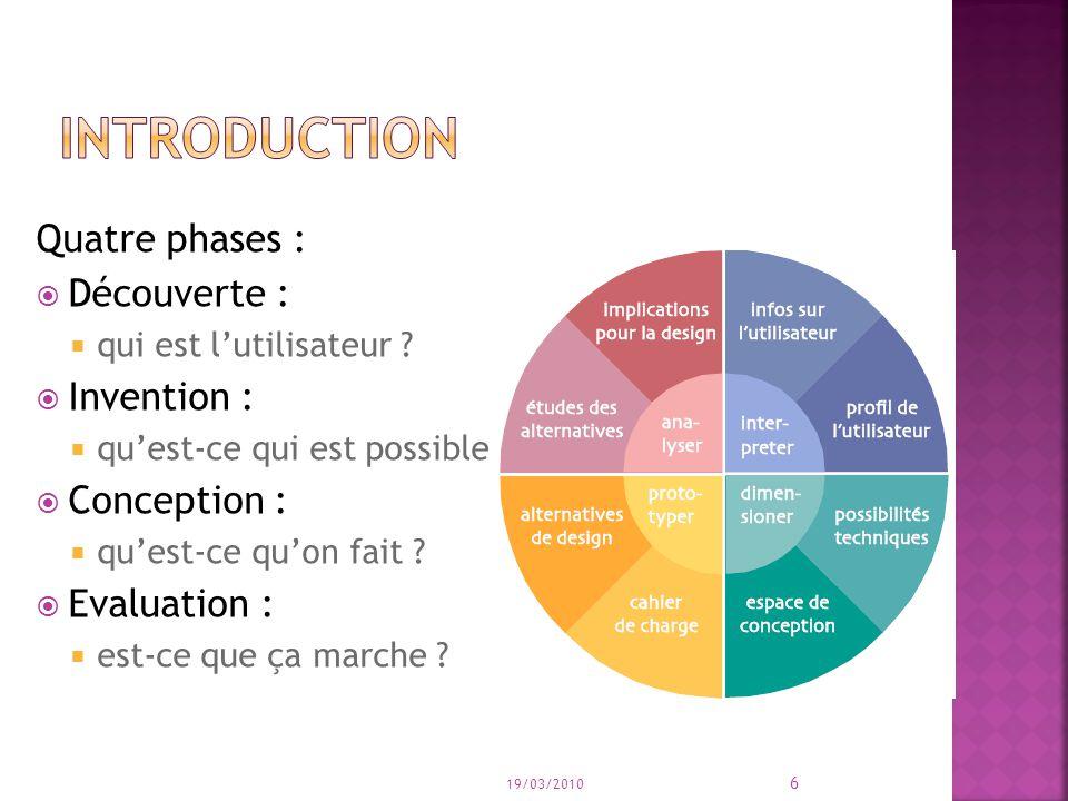 Quatre phases : Découverte : qui est lutilisateur ? Invention : quest-ce qui est possible ? Conception : quest-ce quon fait ? Evaluation : est-ce que