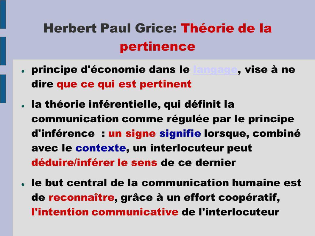 Herbert Paul Grice: Théorie de la pertinence principe d économie dans le langage, vise à ne dire que ce qui est pertinentlangage la théorie inférentielle, qui définit la communication comme régulée par le principe d inférence : un signe signifie lorsque, combiné avec le contexte, un interlocuteur peut déduire/inférer le sens de ce dernier le but central de la communication humaine est de reconnaître, grâce à un effort coopératif, l intention communicative de l interlocuteur