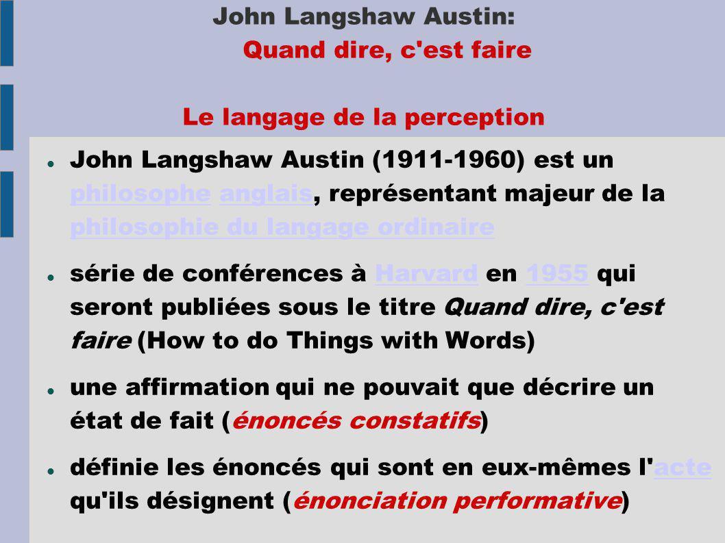 John Langshaw Austin: Quand dire, c est faire Le langage de la perception John Langshaw Austin (1911-1960) est un philosophe anglais, représentant majeur de la philosophie du langage ordinaire philosopheanglais philosophie du langage ordinaire série de conférences à Harvard en 1955 qui seront publiées sous le titre Quand dire, c est faire (How to do Things with Words)Harvard1955 une affirmation qui ne pouvait que décrire un état de fait (énoncés constatifs) définie les énoncés qui sont en eux-mêmes l acte qu ils désignent (énonciation performative)acte