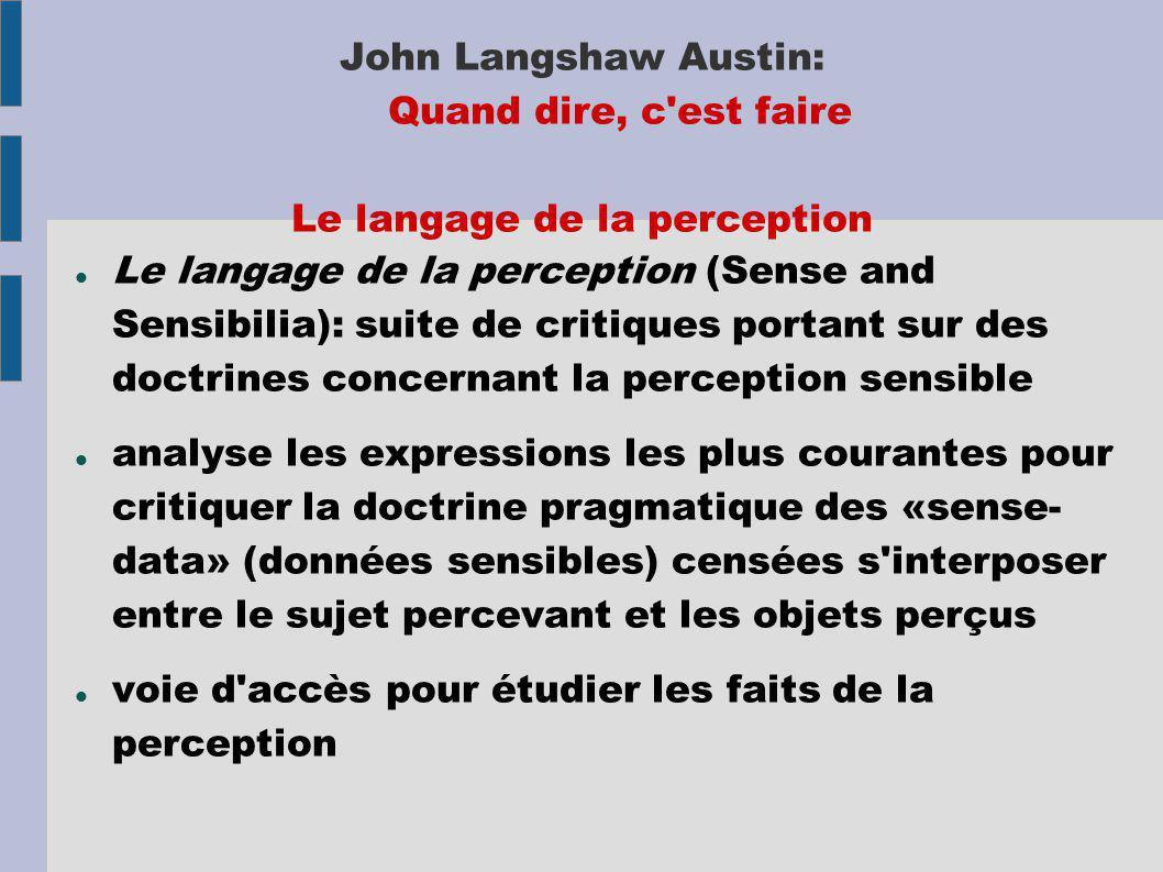 John Langshaw Austin: Quand dire, c'est faire Le langage de la perception Le langage de la perception (Sense and Sensibilia): suite de critiques porta