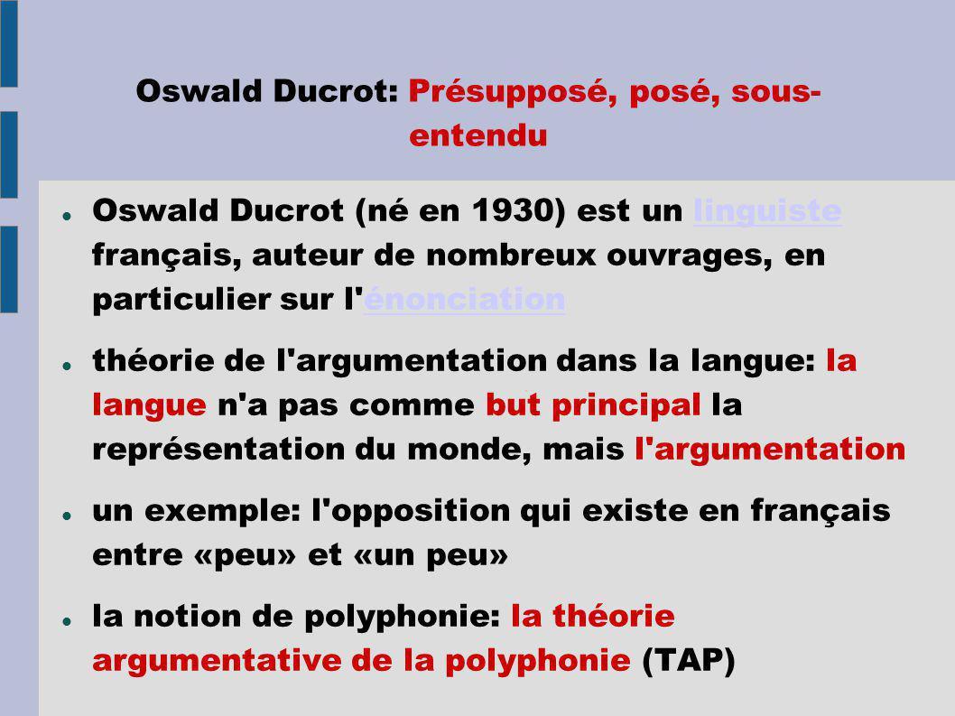 Oswald Ducrot: Présupposé, posé, sous- entendu Oswald Ducrot (né en 1930) est un linguiste français, auteur de nombreux ouvrages, en particulier sur l énonciationlinguisteénonciation théorie de l argumentation dans la langue: la langue n a pas comme but principal la représentation du monde, mais l argumentation un exemple: l opposition qui existe en français entre «peu» et «un peu» la notion de polyphonie: la théorie argumentative de la polyphonie (TAP)