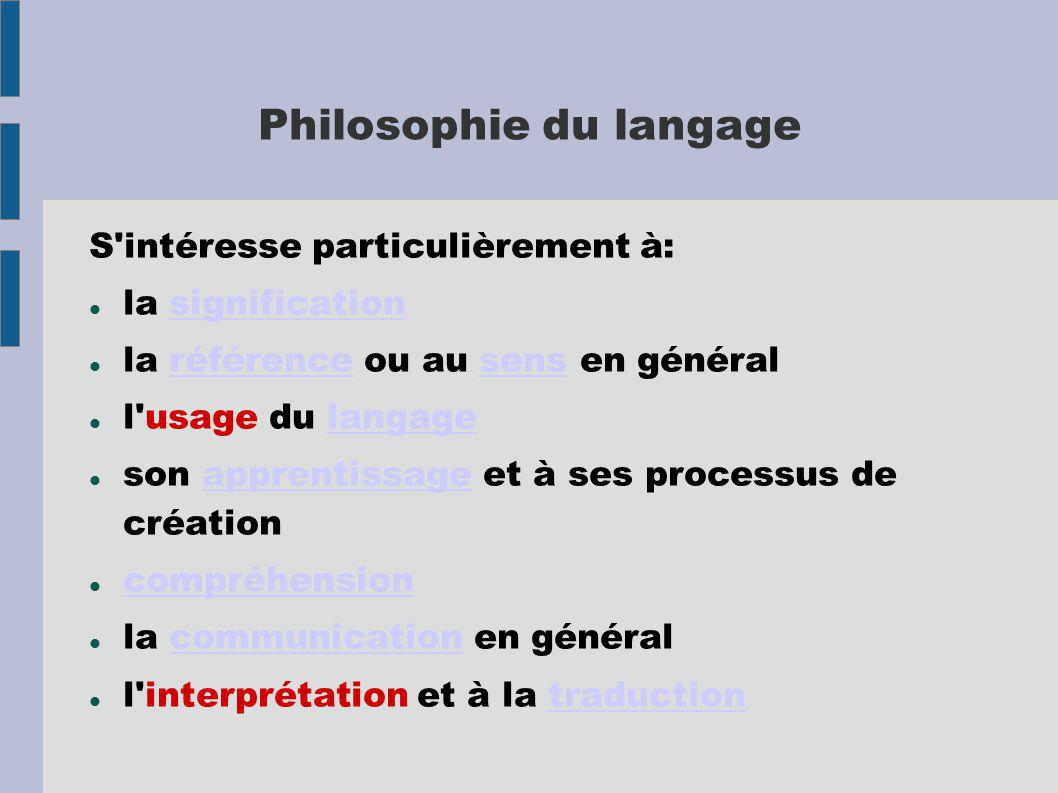 Philosophie du langage S intéresse particulièrement à: la significationsignification la référence ou au sens en généralréférencesens l usage du langagelangage son apprentissage et à ses processus de créationapprentissage compréhension la communication en généralcommunication l interprétation et à la traductiontraduction