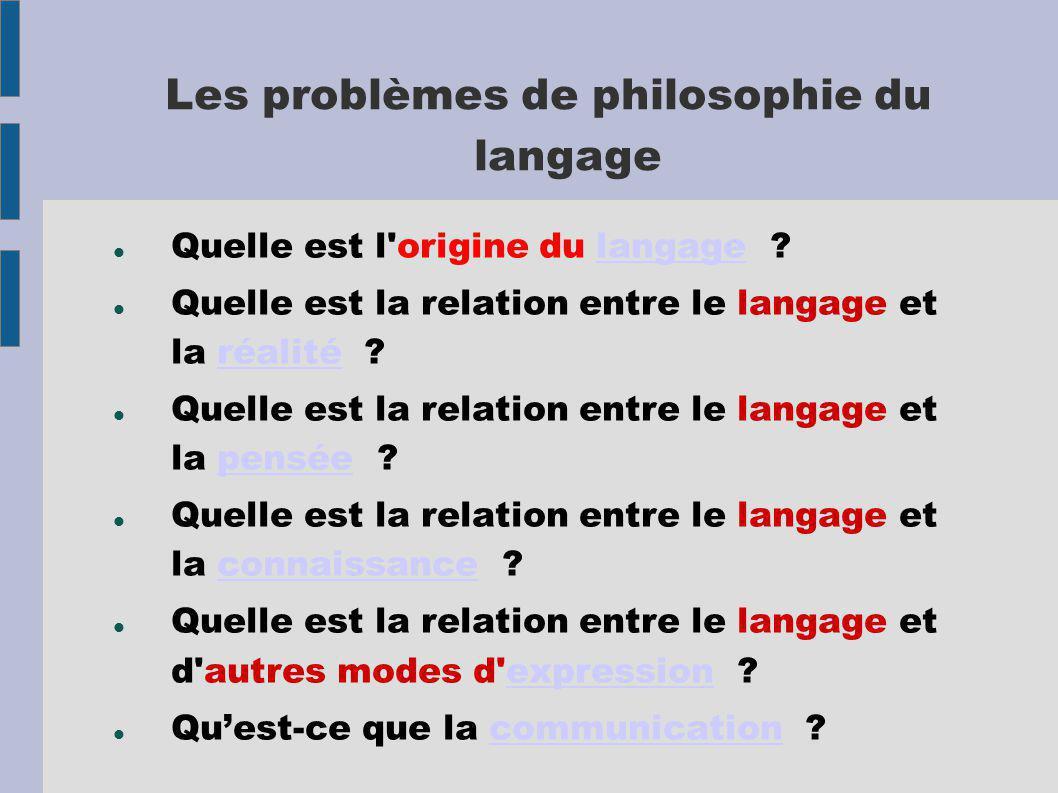 Les problèmes de philosophie du langage Quelle est l origine du langage langage Quelle est la relation entre le langage et la réalité réalité Quelle est la relation entre le langage et la pensée pensée Quelle est la relation entre le langage et la connaissance connaissance Quelle est la relation entre le langage et d autres modes d expression expression Quest-ce que la communication communication