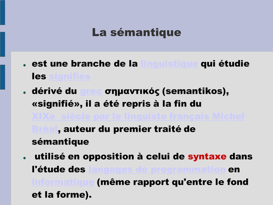La sémantique est une branche de la linguistique qui étudie les signifiéslinguistiquesignifiés dérivé du grec σημαντικός (semantikos), «signifié», il
