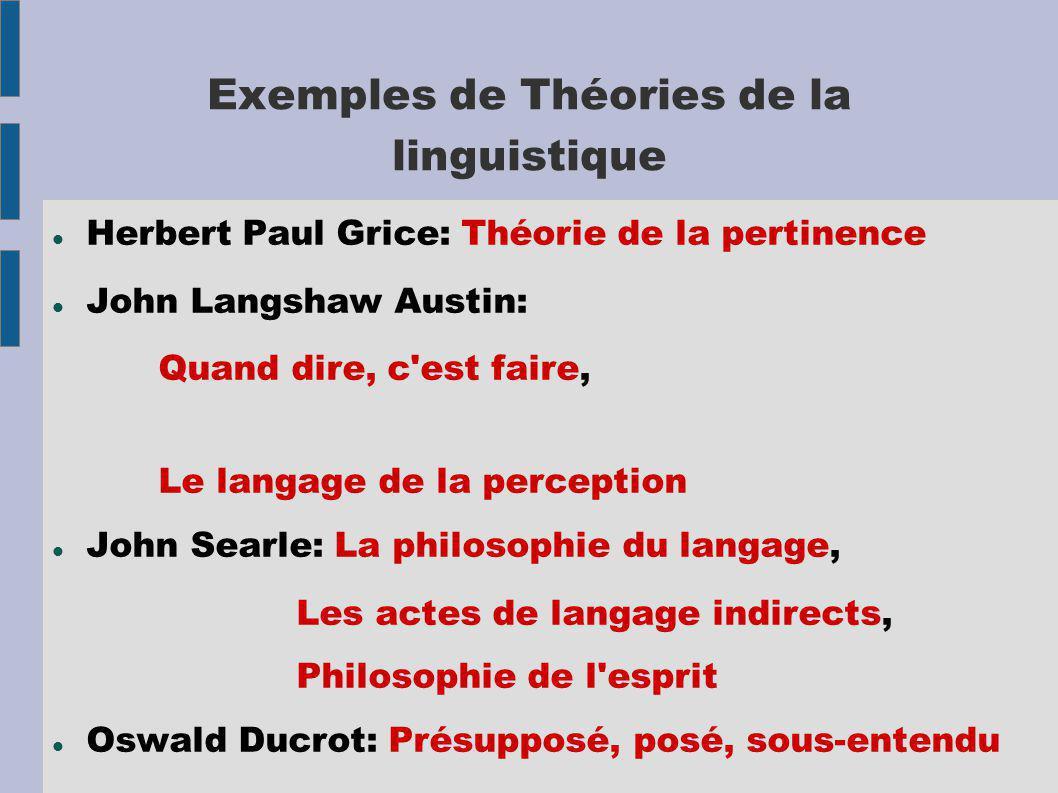 Exemples de Théories de la linguistique Herbert Paul Grice: Théorie de la pertinence John Langshaw Austin: Quand dire, c'est faire, Le langage de la p