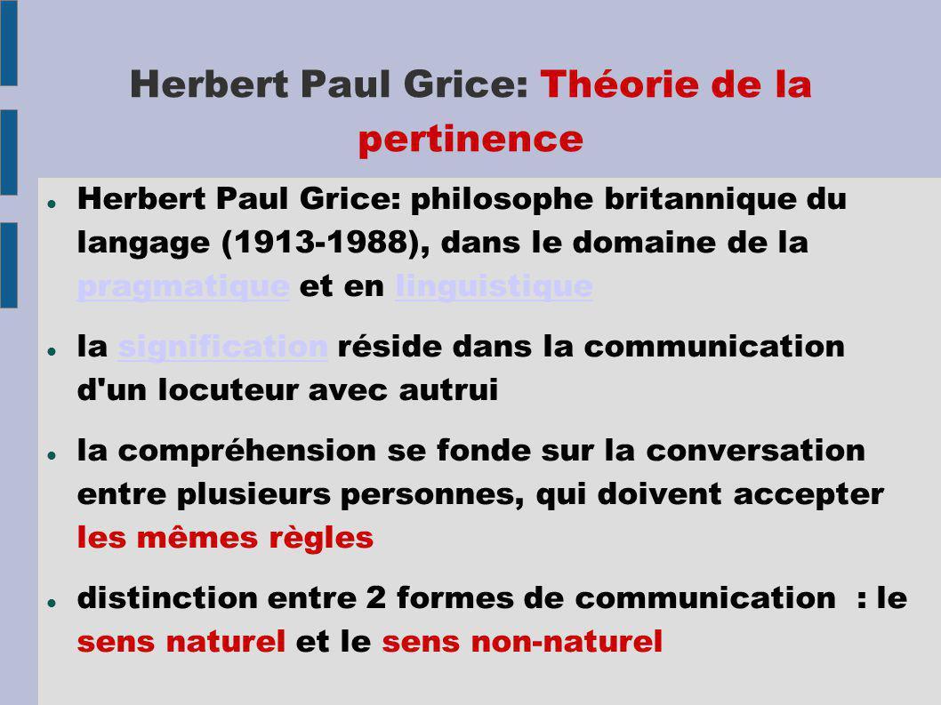 Herbert Paul Grice: Théorie de la pertinence Herbert Paul Grice: philosophe britannique du langage (1913-1988), dans le domaine de la pragmatique et e