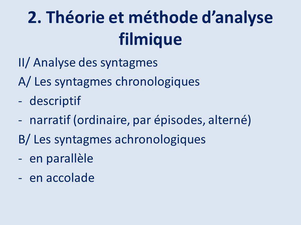 2. Théorie et méthode danalyse filmique II/ Analyse des syntagmes A/ Les syntagmes chronologiques -descriptif -narratif (ordinaire, par épisodes, alte