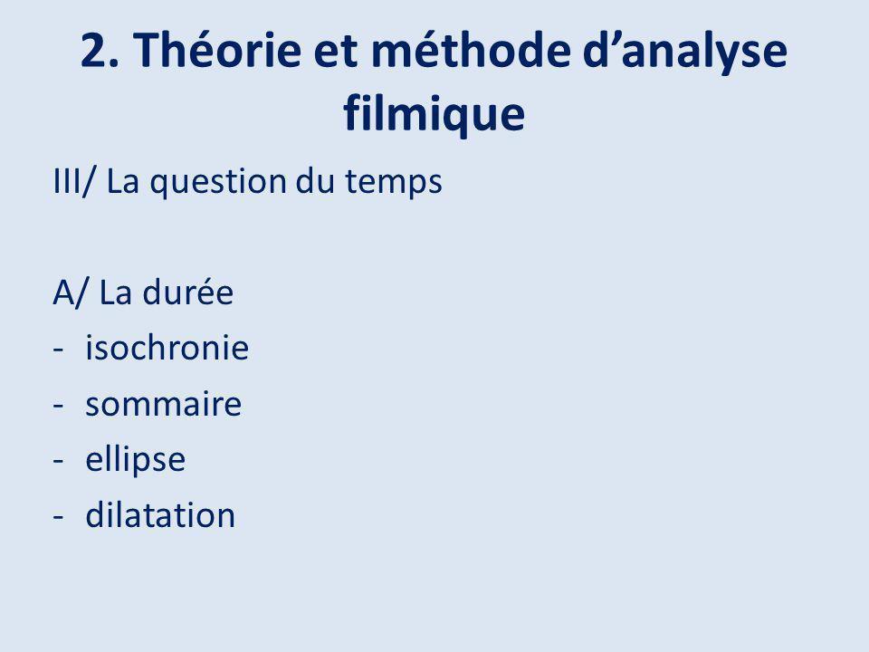 2. Théorie et méthode danalyse filmique III/ La question du temps A/ La durée -isochronie -sommaire -ellipse -dilatation