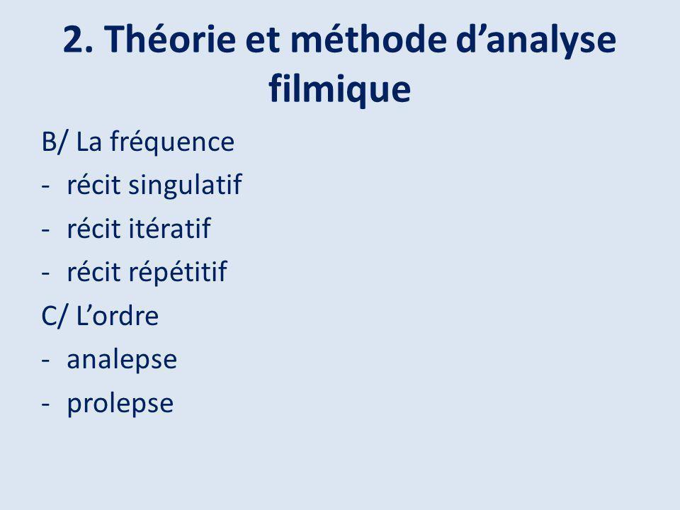 2. Théorie et méthode danalyse filmique B/ La fréquence -récit singulatif -récit itératif -récit répétitif C/ Lordre -analepse -prolepse