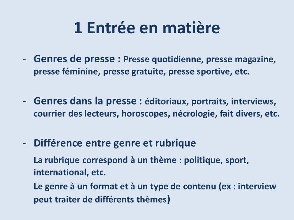 1 Entrée en matière -Genres de presse : Presse quotidienne, presse magazine, presse féminine, presse gratuite, presse sportive, etc. -Genres dans la p
