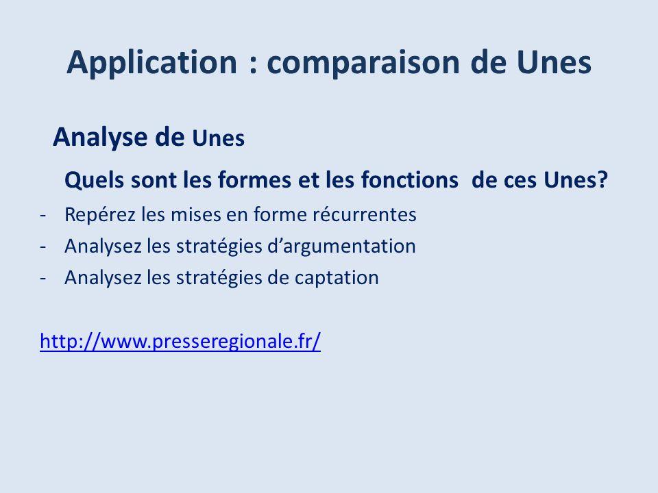 Analyse de Unes Quels sont les formes et les fonctions de ces Unes? -Repérez les mises en forme récurrentes -Analysez les stratégies dargumentation -A