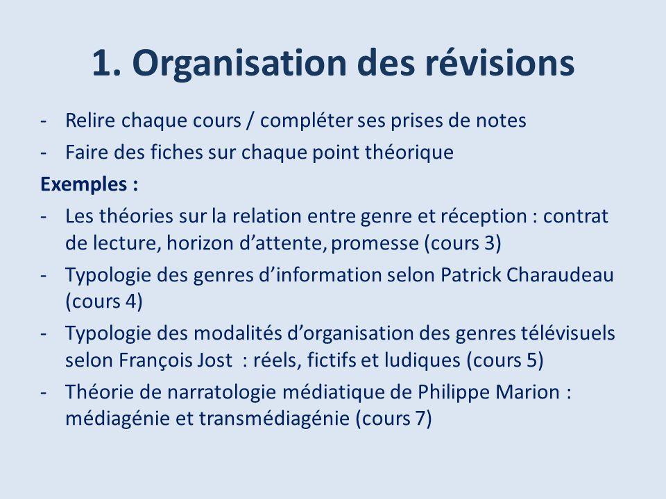 1. Organisation des révisions -Relire chaque cours / compléter ses prises de notes -Faire des fiches sur chaque point théorique Exemples : -Les théori