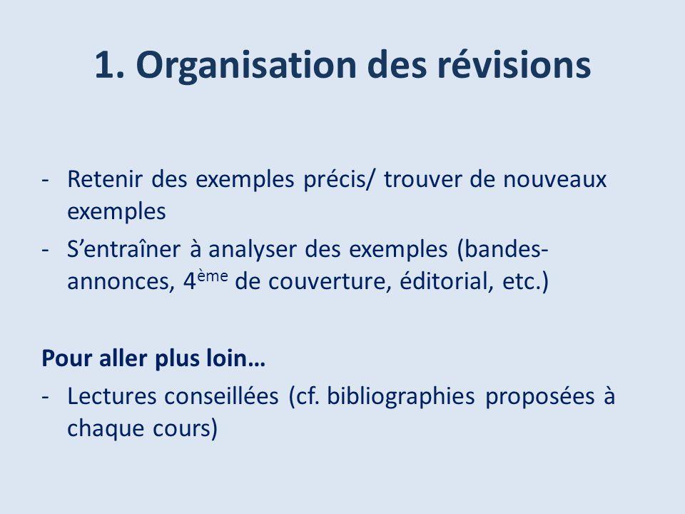 1. Organisation des révisions -Retenir des exemples précis/ trouver de nouveaux exemples -Sentraîner à analyser des exemples (bandes- annonces, 4 ème