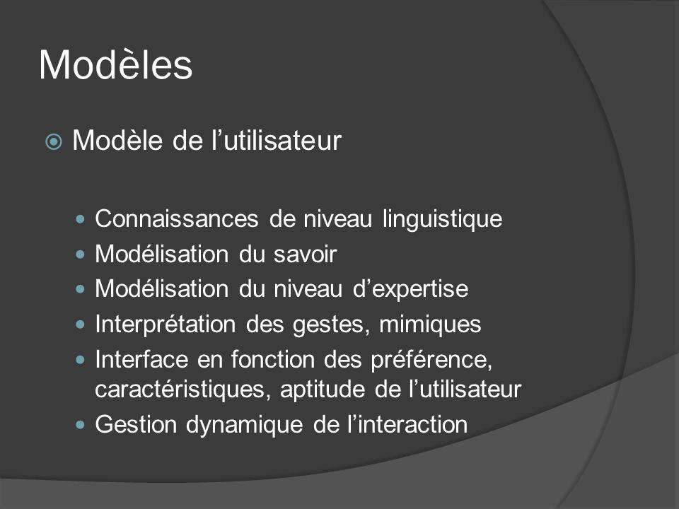Modèles Modèle de lutilisateur Connaissances de niveau linguistique Modélisation du savoir Modélisation du niveau dexpertise Interprétation des gestes