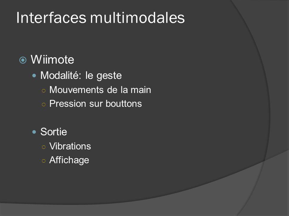 Interfaces multimodales Wiimote Modalité: le geste Mouvements de la main Pression sur bouttons Sortie Vibrations Affichage