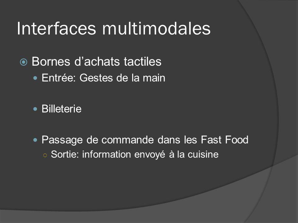 Interfaces multimodales Bornes dachats tactiles Entrée: Gestes de la main Billeterie Passage de commande dans les Fast Food Sortie: information envoyé