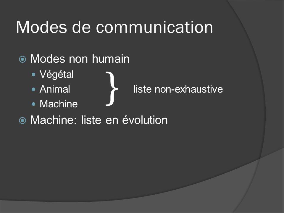 Modes non humain Végétal Animal liste non-exhaustive Machine Machine: liste en évolution }