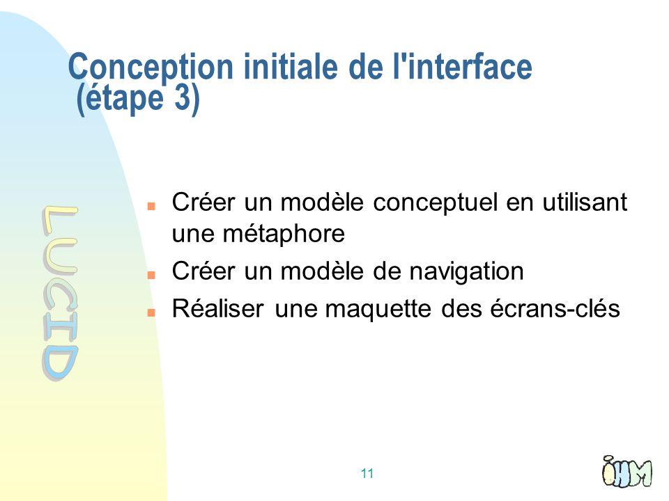 11 Conception initiale de l'interface (étape 3) Créer un modèle conceptuel en utilisant une métaphore Créer un modèle de navigation Réaliser une maque