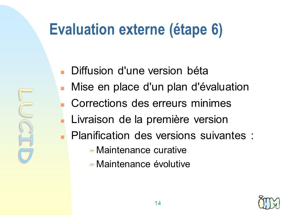 14 Evaluation externe (étape 6) Diffusion d une version béta Mise en place d un plan d évaluation Corrections des erreurs minimes Livraison de la première version Planification des versions suivantes : Maintenance curative Maintenance évolutive