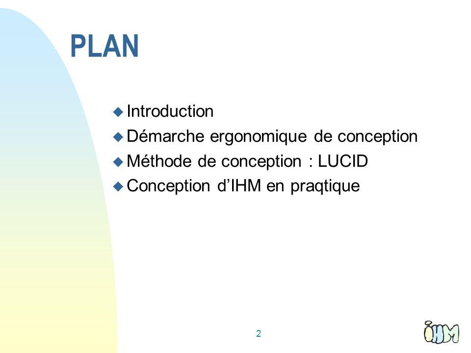 Introduction Objectif : permettre à lutilisateur daccomplir ses tâches : de façon efficace avec une bonne productivité en toute sécurité en prenant plaisir à le faire en apprenant rapidement à utiliser le système