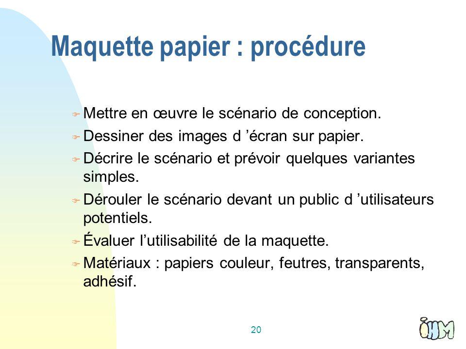20 Maquette papier : procédure Mettre en œuvre le scénario de conception. Dessiner des images d écran sur papier. Décrire le scénario et prévoir quelq